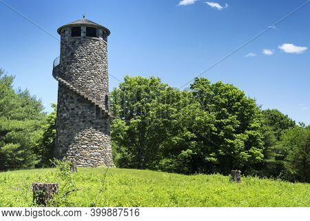 The Landmark Stone Tower At Camp Columbia State Park And Forest In Morris Connecticut On A Sunny Sum