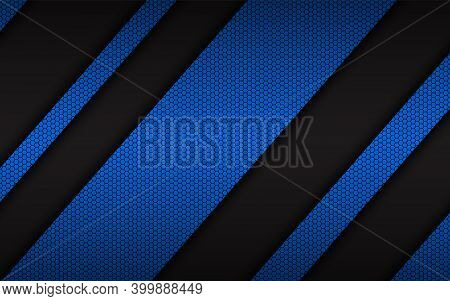 Abstract Blue Background With Blue Layers Above Each Other With Hexagonal Pattern. Modern Design Tem