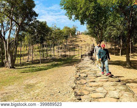 Sukhothai Thailand-27 November 2020:wat Saphan Hin, Sukhothai, Thailand, A World Heritage Site Locat