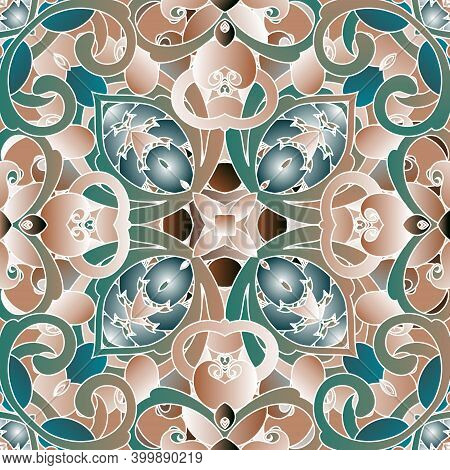 Floral Paisley Seamless Pattern. Vintage Patterned Background. Vector Ethnic Style Paisley Flowers,