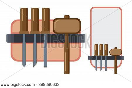 Woodcarving Tools Various Chisels And A Hammer - Mallet. Vector Illustration In Flat Style