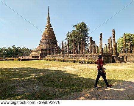 Sukhothai Thailand-28 November 2020:sukhothai Historical Park, World Heritage Site. Ancient Ruins In