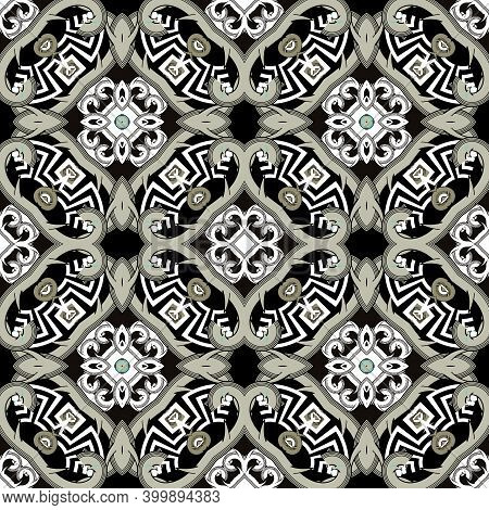 Abstract Seamless Pattern. Colorful Greek Background. Vector Tribal Celtic Style Repeat Ornament. Br