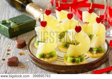 Valentines Day Or Birthday Romantic Antipasto. Canapes With Cheese, Kiwi And Pineapple.