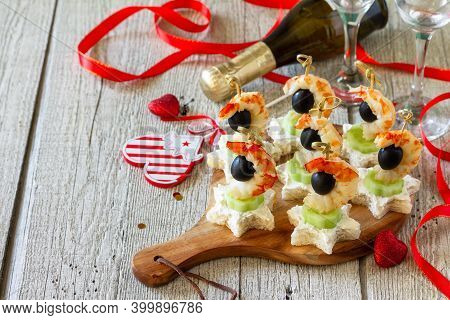 Valentines Day Or Birthday Romantic Antipasto. Canapes With Cheese, Cucumber And Shrimps. Copy Space