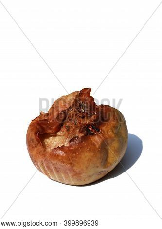 Closeup Of Rotten Apple Fruit Isolated On White Background