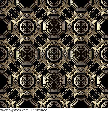 Luxury Gold Deco Seamless Pattern. Greek Tribal Ethnic Style Ornamental Vector Background. Repeat Ge