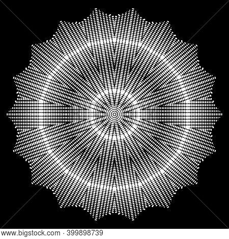 Round Floral Halftone 3d Vector Mandala Pattern. Dotted Abstract Background. Modern Digital Ornate B