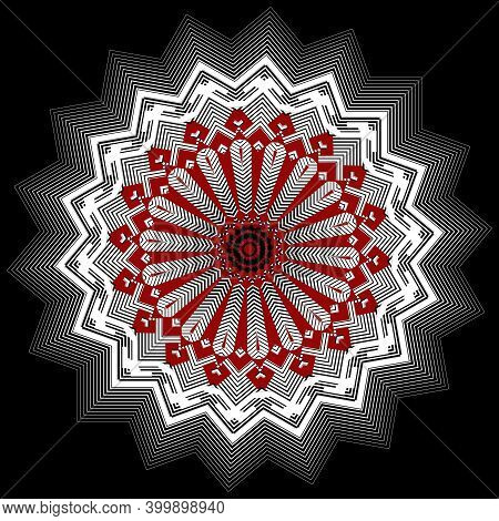 Zigzag Floral Halftone Vector Mandala Pattern. Line Art Abstract Textured Background. Modern Ornate