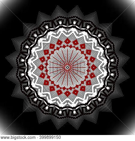 Zigzag Floral Halftone Vector Mandala Pattern. Line Art Abstract Textured Background. Modern Backdro