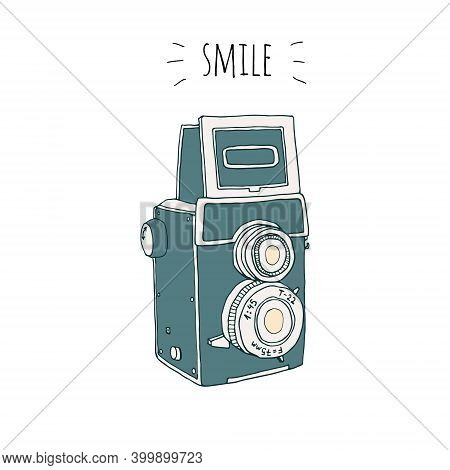 Vector Retro Hand Drawn Hipster Photo Camera Isolated On White Background. Vintage Illustration For