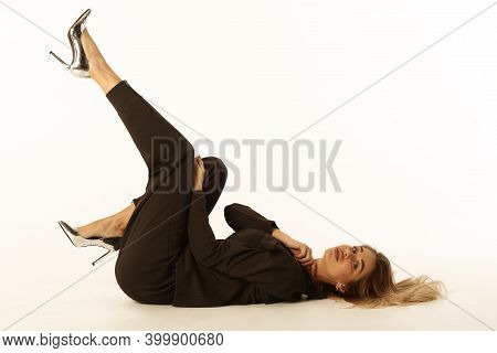 Blond Young Woman Lay On Floor Full Body Sensual Portrait