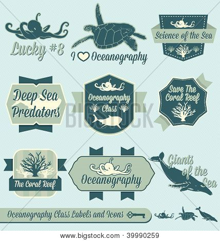 Vintage Oceanography Class Labels and Icons