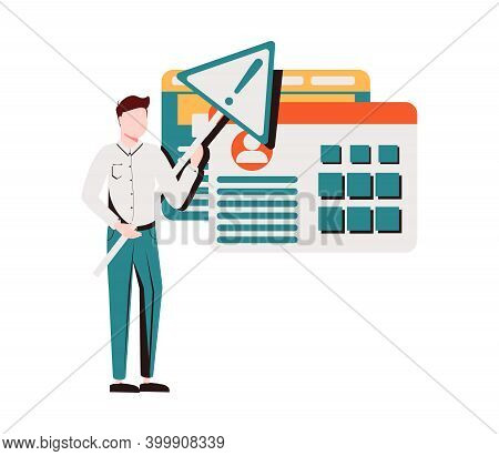 Man Holding Triangular Warning Sign With Exclamation Mark. Concept Of Fatal Error, Operating System