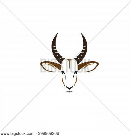 Profile Of A Ram's Head With Large Horns. Front View. Hand Drawn Zodiac Astrological Symbol Of A She