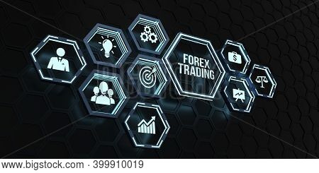 Internet, Business, Technology And Network Concept. Forex Trading, New Business Concept. 3d Illustra