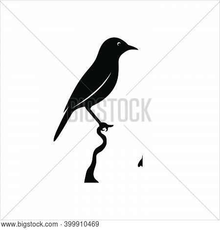 Silhouette Of Bird And Twigs. Cute Birds And On Branches, Romantic Spring Images, Black Birds On Tre