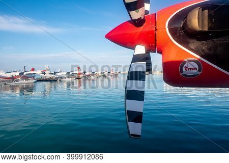 Male, Maldives, 20.11.2020. Trans Maldivian Airways Seaplane Twin Otter Series 400 Propeller And Eng