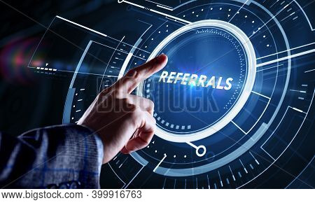 Businessman Presses Button Referrals On Virtual Screens. Business, Technology, Internet And Network
