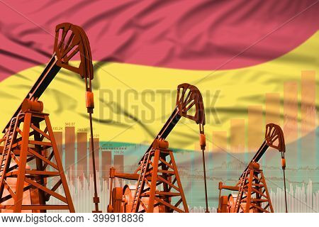 Bolivia Oil And Petrol Industry Concept, Industrial Illustration On Bolivia Flag Background. 3d Illu