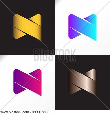 Logo N Or M Letter Bronze And Golden Color Vector Design. M N Combine Font Unique Modern Icon.