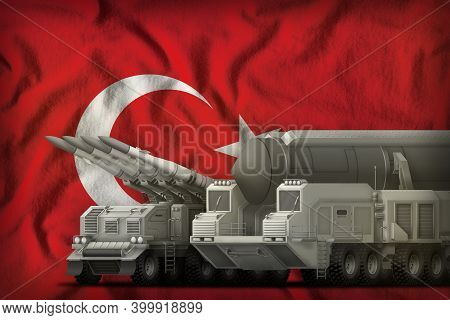 Rocket Forces On The Turkey Flag Background. Turkey Rocket Forces Concept. 3d Illustration