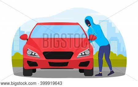 Thief In Black Mask Stealing Red Car. Concept Of Vandalism And Burglary. Auto Theft. Flat Cartoon Ve