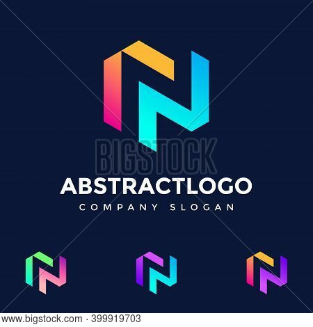 N Letter Colorful Logo Design Vector - Creative Symbol Icon Text N - Negative Space N Font