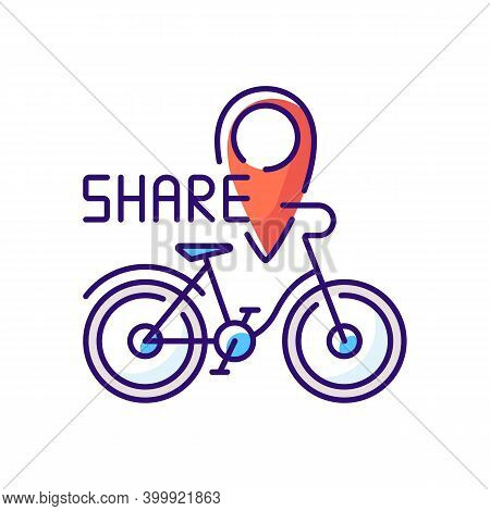 Bicycle Sharing System Rgb Color Icon. Service In Which Bicycles Are Made Available For Shared Use T