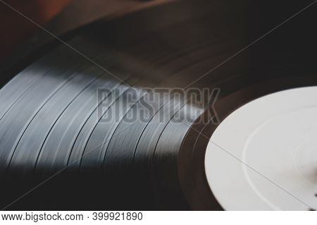 Dj Turntable Turntable Playing Vinyl Disc With Hip Hop Music.closeup, Focus On Needle Cartridge Head