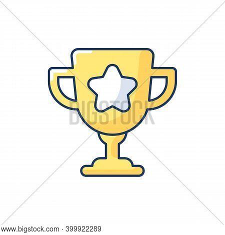 Game Win Rgb Color Icon. Videogame Success Achievement. Esports Tournament, Championship Prize. Firs