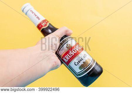 Tyumen, Russia-december 10, 2020: Krusovice Beer. Royal Brewery Krusovice Was Established In 1581. I