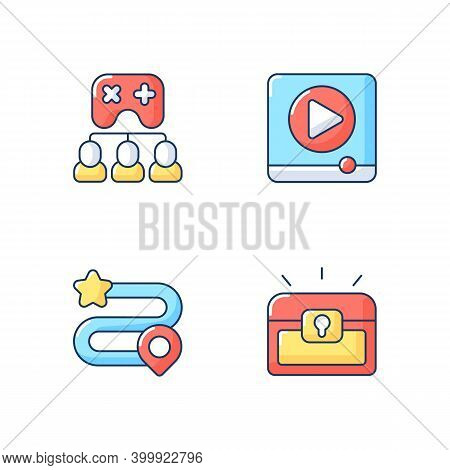 Video Gaming Rgb Color Icons Set. Watching Ads, Multiplayer Mode, Game Progress And Player Inventory