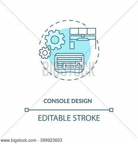 Console Design Concept Icon. Control Room Ergonomics Idea Thin Line Illustration. Using Adjustable-h