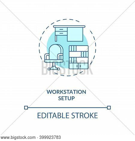 Workstation Setup Concept Icon. Workplace Design Idea Thin Line Illustration. Office Ergonomics. Com