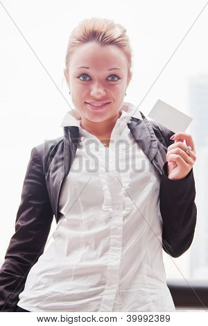 business woman with business card