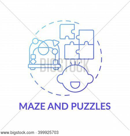 Maze And Puzzles Blue Gradient Concept Icon. Toy To Develop Cognitive Skill, Logic. Baby Plays. Earl