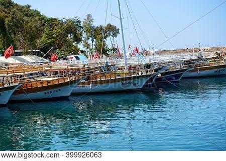 Antalya, Turkey - April 24: The Yacht In Harbor On Turkish Resort On April 24, 2014 In Antalya, Turk