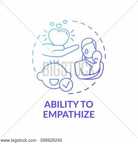 Ability To Empathize Blue Gradient Concept Icon. Recognize, Understand Emotion. Kid Empathy. Early C
