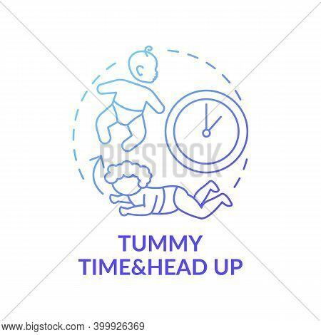 Tummy Time And Head Up Blue Gradient Concept Icon. Baby Crawling. Newborn Laying. Early Childhood De