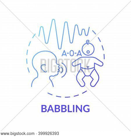 Babbling Dark Blue Gradient Concept Icon. Early Speech. Baby Talking. Toddler Make Sound. Childhood
