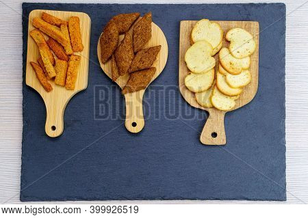 Croutons, Made Of Different Bread, Dark Light And Brown, With Space For Copying Text