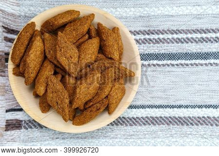 Croutons Brown Pieces Of Dried Bread In Bowl. Top View. Copyspace