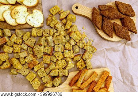 Homemade Bread Croutons. Crispy Bread Cubes, Dry Rye Crumbs, Rusks. Flat Lay