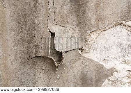 Concrete Cement Wall With Crack In Industrial Building, Background And Texture Style