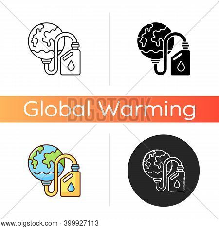 Biological Resources Depletion Icon. Consumption Of Resources Faster Than Can Be Replenished. Taking