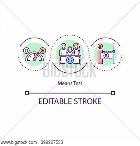 Means Test Concept Icon. Eligibility For Government Assistance And Welfare Idea Thin Line Illustrati