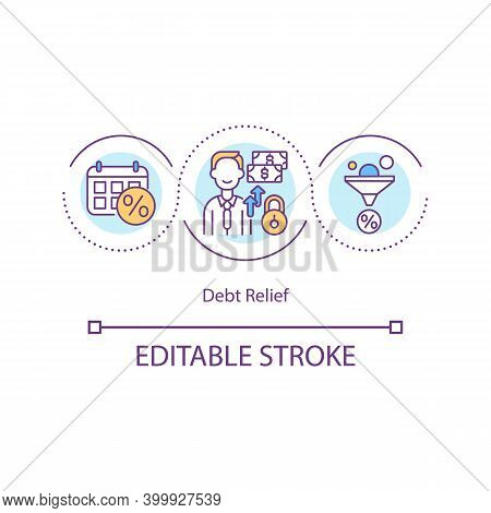 Debt Relief Concept Icon. Debt Cancellation Idea Thin Line Illustration. Lowering Interest Rate. Tot