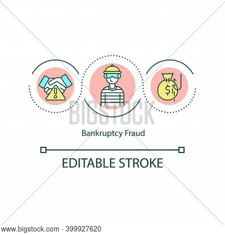 Bankruptcy Fraud Concept Icon. White-collar Crime Idea Thin Line Illustration. Concealing Assets By