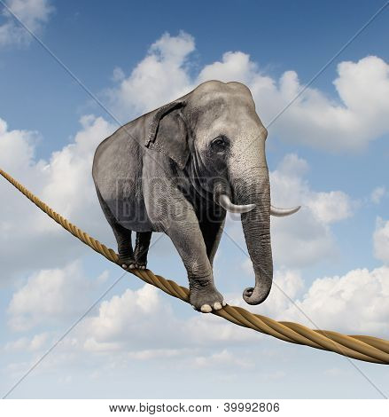 Managing risk and big business challenges and uncertainty with a large elephant walking on a dangerous rope high in the sky as a symbol of balance and overcoming fear for goal success. poster
